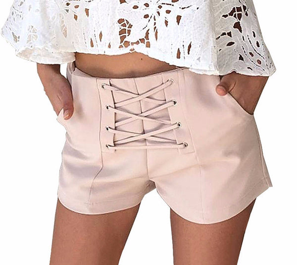 Cross lace up shorts women casual pocket shorts - Crystalline