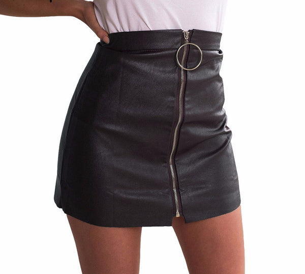 Zipper high waist leather skirt - Crystalline