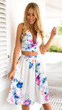 ♡ Foral Print Party Sexy Two piece High Waist Dresses ♡ - Crystalline