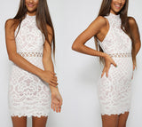 ♡ Elegant black lace bodycon mini dress ♡ - Crystalline