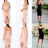 ♡ Halter Pink Bandage Dress with Front Split Evening Party Bodycon Dress ♡ - Crystalline