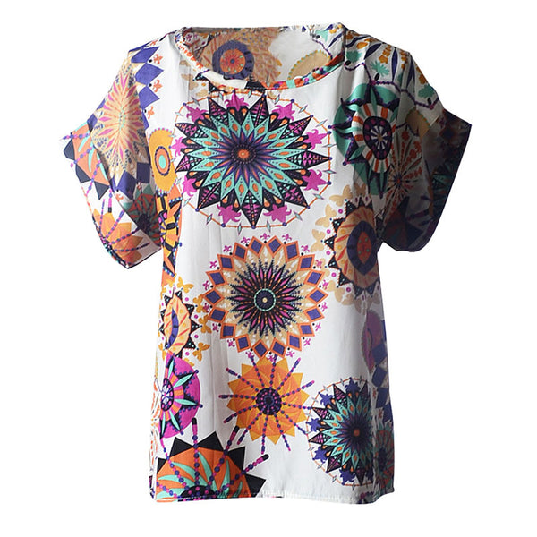 2015 New Arrival! Hot Sexy Women Casual Shirt, Sexy Slim Shirt Top Women Totem Sunflower Print Chiffon Top T-shirt S-XXL