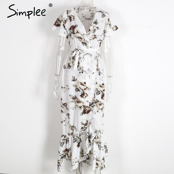 Boho Floral Print Mermaid robe Elegant Long Dress Beach Vintage Split Dress