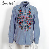 Casual Blue Embroidery Tops