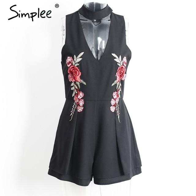 Halter Elegant Jumpsuit Romper Hollow Out Embroidery
