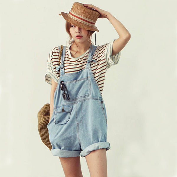 ♡ Cute Trendy Denim Overalls Jumpsuit Jeans Shorts ♡ - Crystalline
