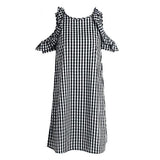 Vintage Plaid Black Casual Summer Dress