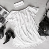 ♡ Casual White Dress Chiffon With Ruffle ♡ - Crystalline