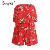 Off Shoulder Chiffon Red Jumpsuit Romper Floral Print Boho Summer
