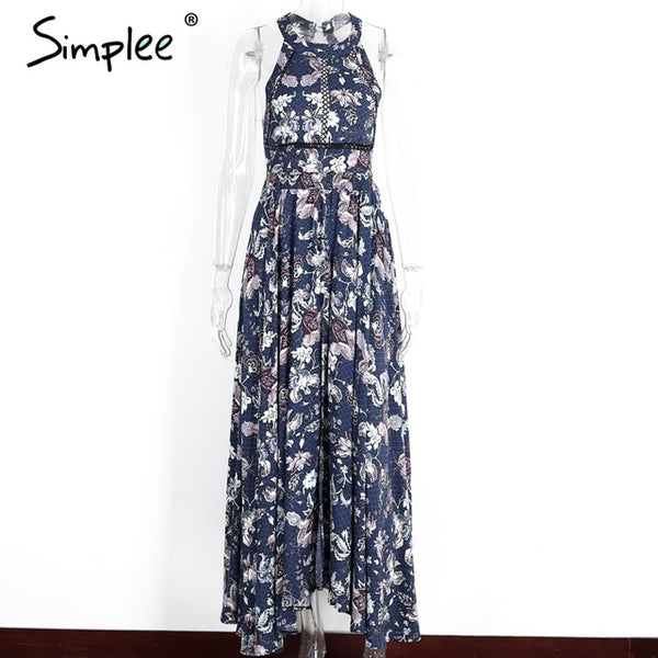 Simplee Halter floral print split summer dress Women Backless beach dresses sexylong dress Elegant maxi dress female vestidos