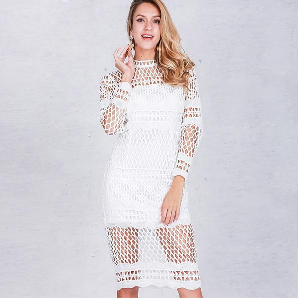 Hollow Out White Lace Fall Long Sleeve Prom Homecoming Dress