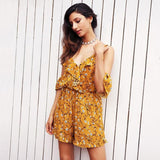 Ruffles Print Jumpsuit Romper V Neck each Party Overalls Boho Summer