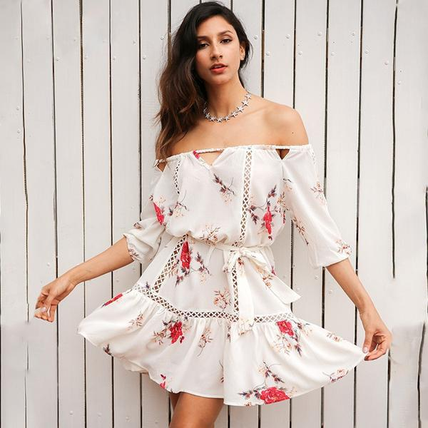Off Shoulder Hollow Out Loose Floral Print Pleated Short Robe Casual Beach White Summer