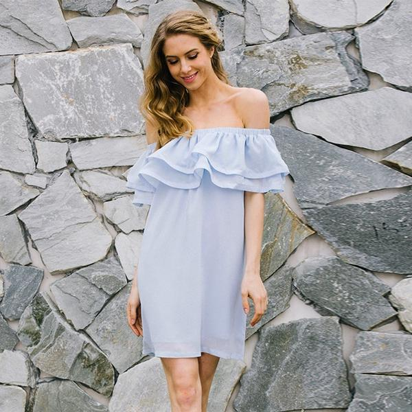 Chiffon Ruffle Short Dress Shoulder Sleeveless Beach Summer Dress