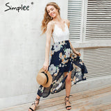 Print Lace Summer Strap Deep V Neck High Waist Beach