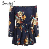 Off Shoulder Print Rompers Jumpsuit Casual Sashes Elastic High Waist Chiffon Playsuit Summer