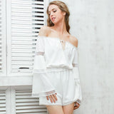 Off Shoulder Hollow Out Jumpsuit Romper Elegant Flare Sleeve White Summer