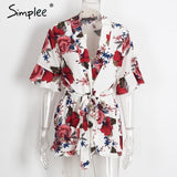 Summer Beach Floral Print Jumpsuit Romper V neck Half Butterfly Sleeve