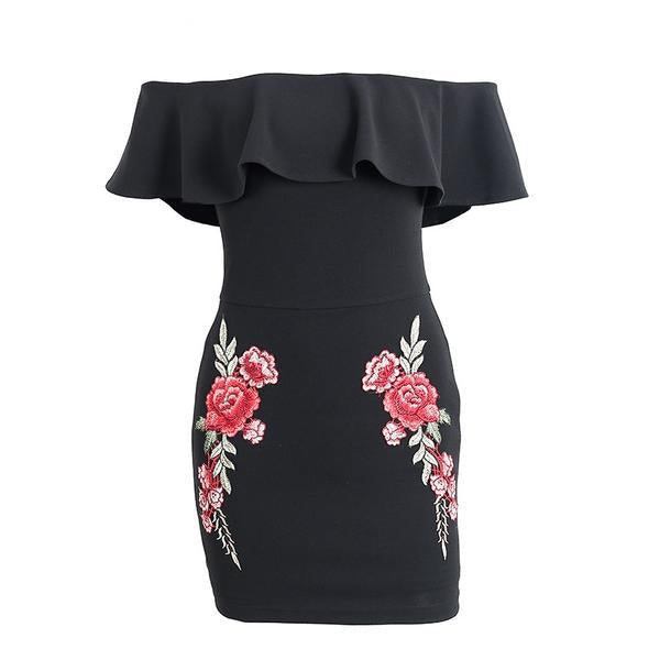 Off Shoulder ruffle dress Flower embroidery bodycon Dress Summer