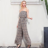 Off Shoulder Leopard Print Long Jumpsuit Romper Loose Soft Chiffon Summer .