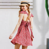 Backless Red or Navy Floral Print Short Summer Dress