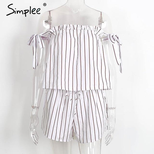 White Bow Stripe Elegant Jumpsuit Romper Off Shoulder Two Piece Suit Overalls Summer