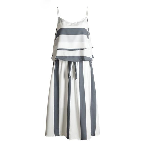 Ruffle Stripe Chiffon Two Piece Dress Suit Casual Beach Soft Sleeveless Long Dress Summer