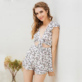 Floral Print Bow Jumpsuit Romper Ruffle Backless Deep V Neck Jumpsuit Hollow Out Summer