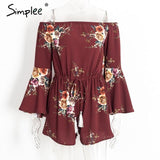 Off Shoulder Floral Print Jumpsuit Romper Tassel Beach Overalls Summer