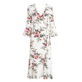 Boho Flower Deep V Neck Print Long Dress Flare Sleeve Wrap Mermaid Summer