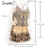Leopard Print Brown Jumpsuits Romper Beach Sleeveless Overalls Backless Strap Chiffon Summer