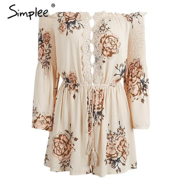 Off Shoulder Lace Hollow Out Print Jumpsuit Romper Flare Sleeve Short Overalls Summer