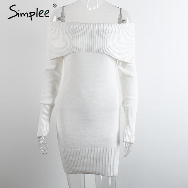 Winter Off Shoulder Knitted Bodycon Dress Long Sleeve Autumn