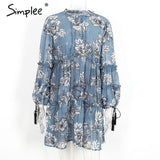 Boho Floral Print Tassel Dress Fall Long Sleeve Ruffle Chiffon Dress
