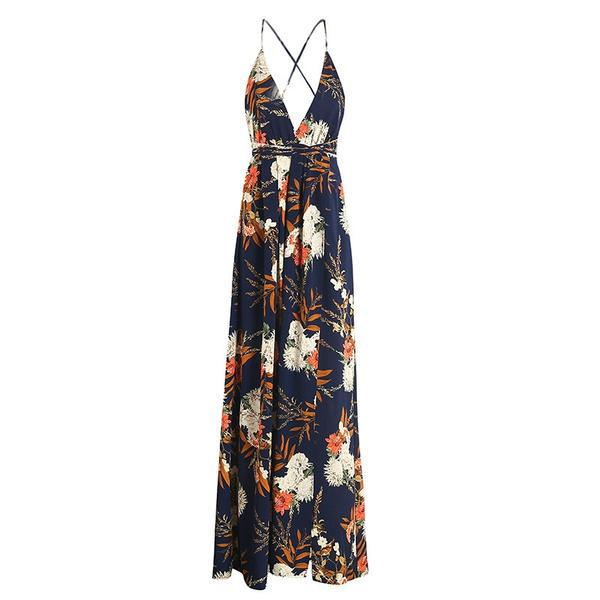 Backless Boho Flower Print Long Dress Deep V Neck Chiffon Dress Summer