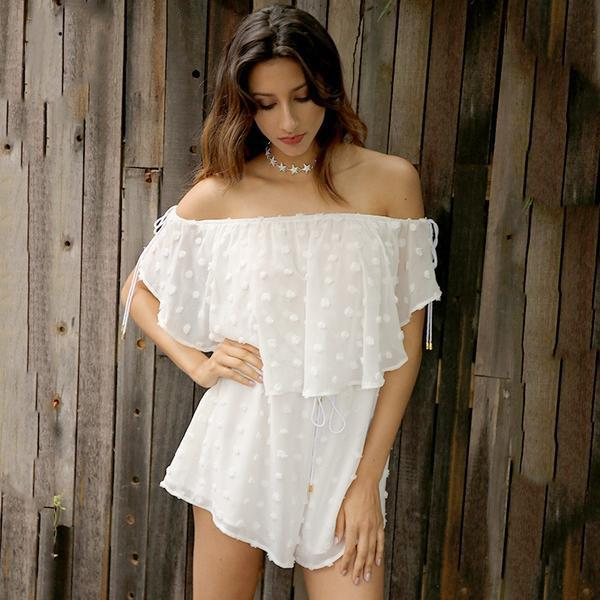 Off Shoulder White Chiffon Jumpsuit Romper Casual Short Playsuit Beach Summer