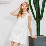 Halter White Lace Sequins Causal Dress Deep V Neck Sleeveless Short Dress Summer
