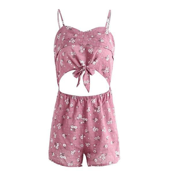 Hollow Out Floral Print Jumpsuit Romper Sleeveless Short Summer