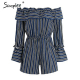 Off Shoulder Ruffle Stripe Jumpsuit Romper Elegant Hollow Out Flare Sleeve Overalls Summer