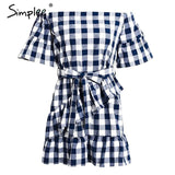 Off Shoulder Plaid Bow Tie Summer Flare Sleeve Dress