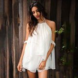 Halter Backless White Chiffon Jumpsuit Romper Ruffle Short Playsuit Summer