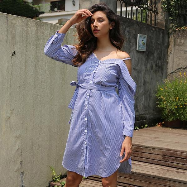 Striped Bow Short Dress Shirt Casual Long Sleeve V Neck Dress Summer