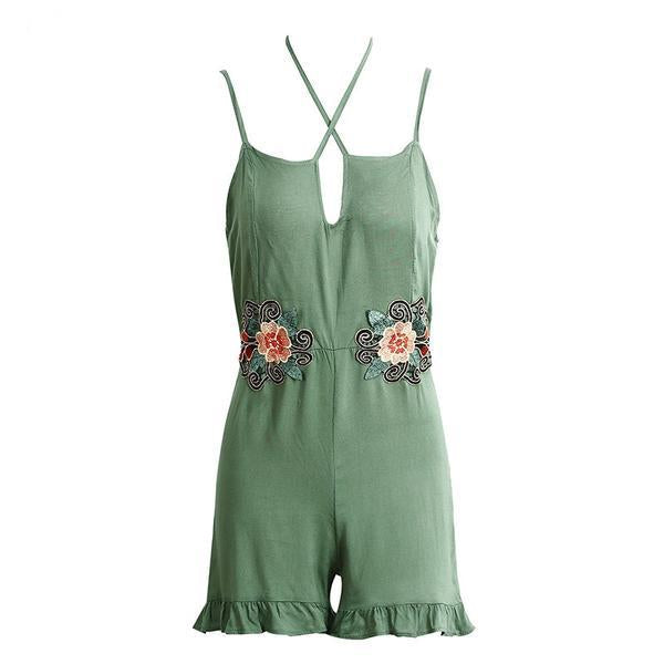 Halter Embroidery Ruffle Jumpsuit Romper Summer