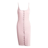 Backless Knitted Bodycon Slim Sleeveless Split Elegant Party White Summer