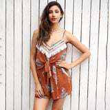 Tassel Backless Boho Jumpsuit Romper Flower Print Bow Sleeveless Playsuit Beach Summer