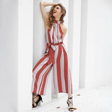 Halter Backless Red Stripe Jumpsuit Romper Bow Sleeveless Long Overalls Elegant Summer