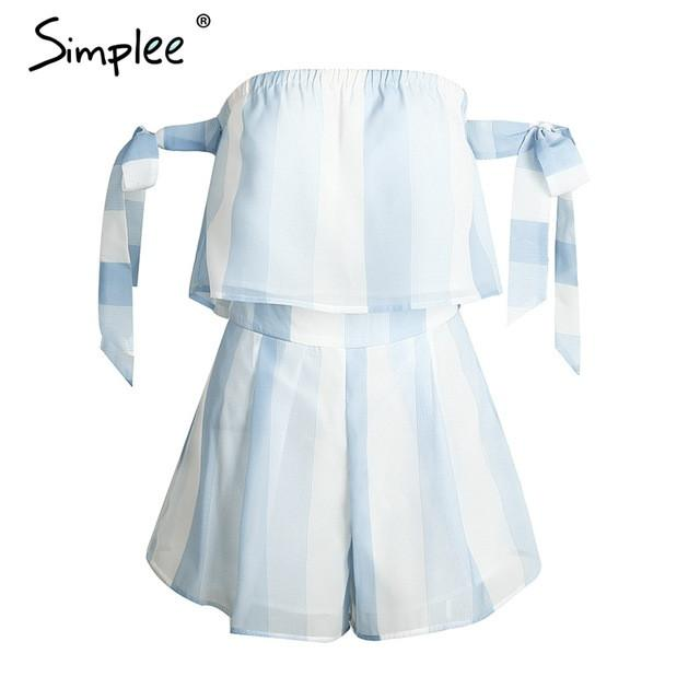 Off shoulder Organza Striped Jumpsuits Romper Bow Sleeve Blue Overalls Beach Summer
