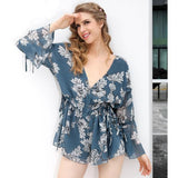 Chiffon Print Backless Jumpsuit Romper Flower Deep V Neck Flare Sleeve Playsuit Summer