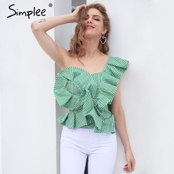 One Shoulder Elegant Ruffles Top