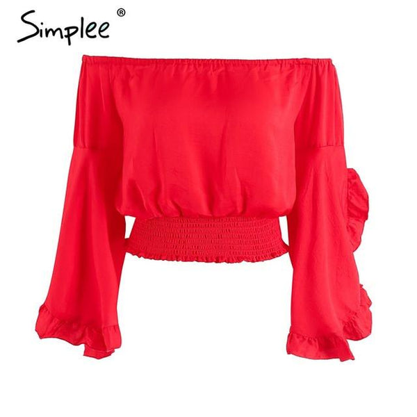 Off Shoulder Casual Red Ruffles Top